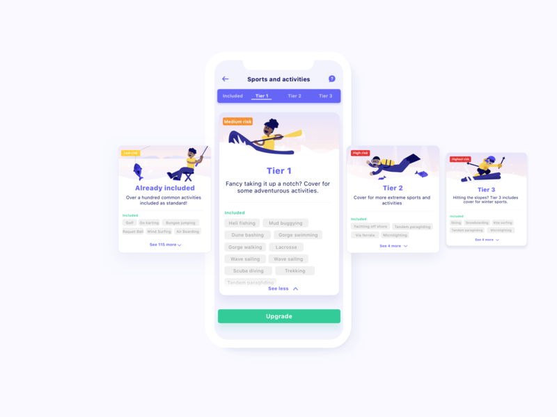 Choosing sports and activities engaging fintech travel app carousel control slider ux insurance travel branding animation design mobile iphone app