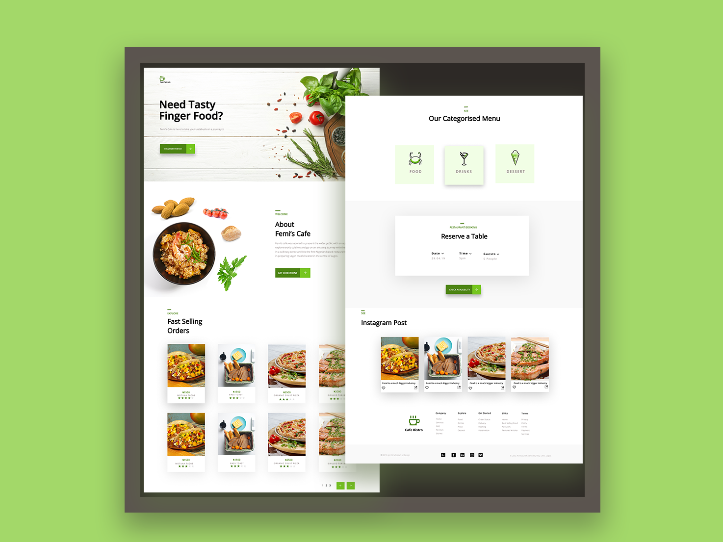 Femi's Cafe ux food minimalistic user interface user interface design landing page restaurant minimal design ui