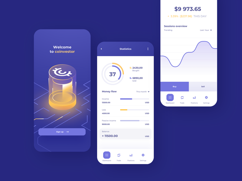 Cryptocurrency Trading - mobile app concept data exchange pie chart tabs details screen splash screen home page navigation statistics money illustration line chart charts finance fintech mobile mobile app app cryptocurrency