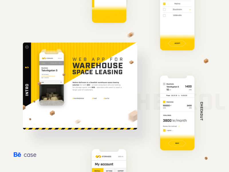 Storages - Behance case study leasing navigation calendar storage warehouses logistics checkout forms brand logo mobile app mobile app ui design branding marketing behance case study