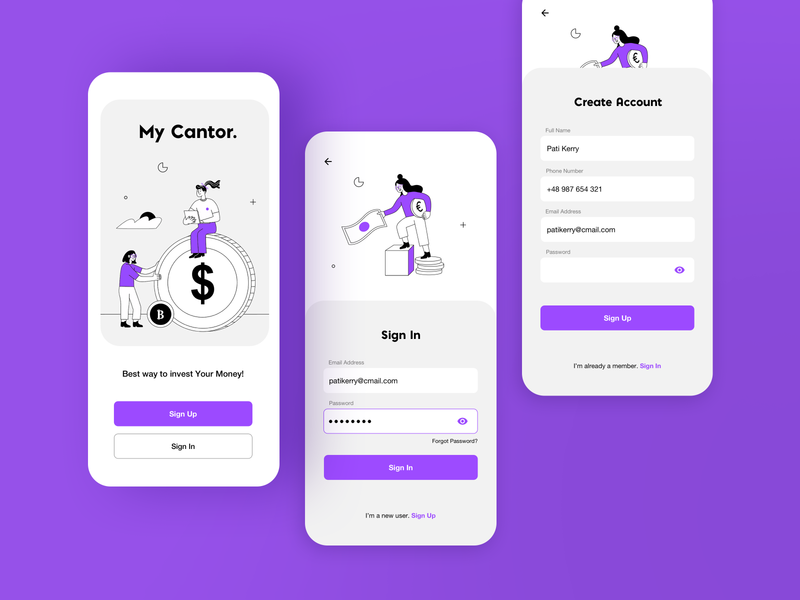 Fintech App   Sign in/Sign up character money mobile banking account form validation password login register form illustration minimal splash screen onboarding sign up sign in finance fintech mobile mobile app app