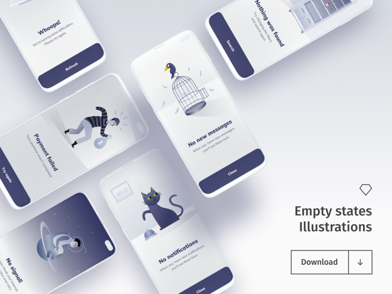 Empty States Illustrations - Freebie graphic design alert illustration set bird cat astronaut space animals sketch freebie vector illustration download android ios mobile app app design character empty states illustrations freebies
