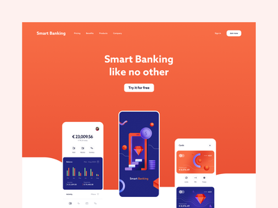 Smart Banking - landing page concept desktop sign up sign in bank account transactions mobile app solid background navigation hero image money finance bank business fintech online banking account landing page web design web app web