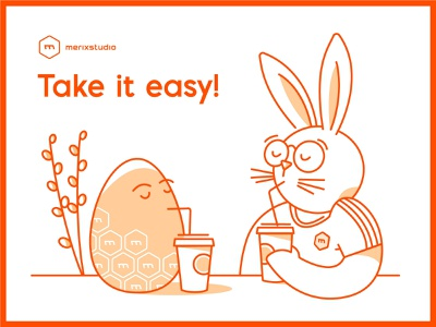 Happy Easter! <3 holiday wishes coffee chillout characters eggs bunny happy easter easter merixstudio illustration
