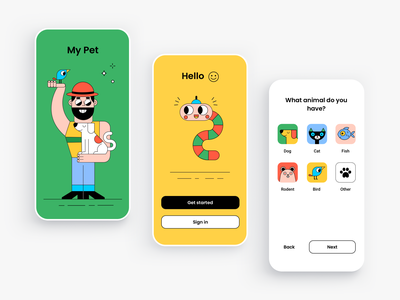 My Pet - mobile app design concept wizard sign up sign in character design icons button form menu splash screen onboarding pet owners animals minimal cartoon colors illustrations pets mobile app mobile