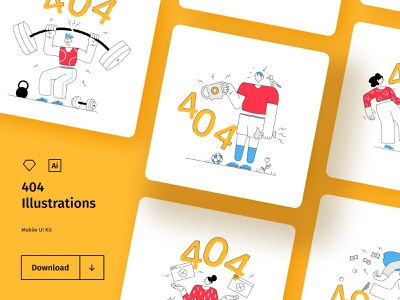 404 Illustration Set - Freebie healthcare gym finance sport empty states color line vector illustrations sketch adobe illustrator hand drawing drawing character fun error screen 404 for free illustrations set illustrations freebie