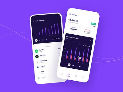 Vizier - mobile app list contrast modal design navbar menu statistics flat design purple wallet finances bank progress chart app banking mobile ui mobile app money