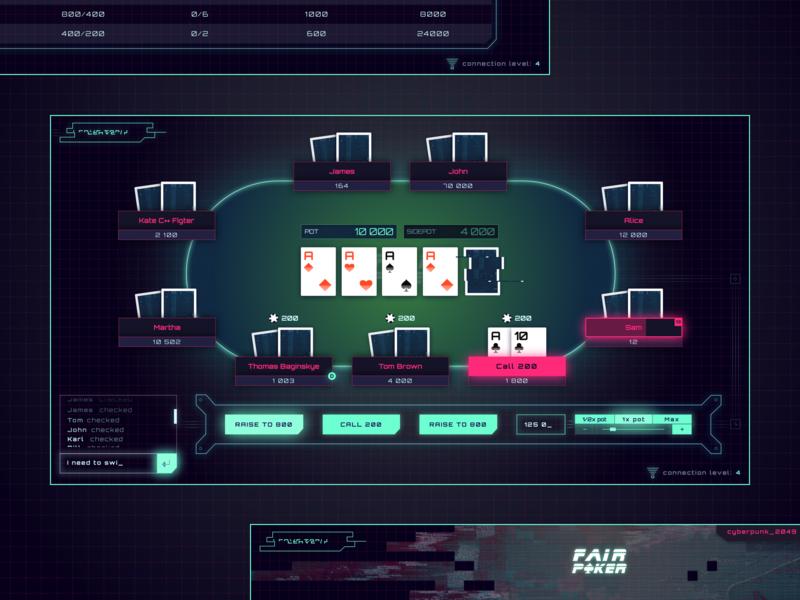 Fair Poker - game design graphic design illustration website ux design web design retrofuturism game dark pink violet sketch blue