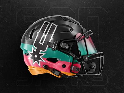 San Antonio Spurs : Helmet Concept retro spurs san antonio sports nfl nba minnesota football basketball