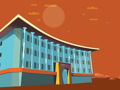 bahria university building shapes lines art direction artwork architecture minimal flat vector illustration design
