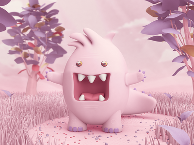 Dino cinema 4d pink monster 3d art colombia design character rendering 3d c4d illustration