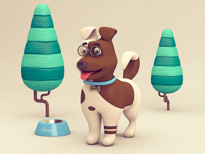 Dog_Dream c4d tree rendering dog 3d illustration