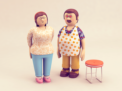 Couple texture character rendering couple cinema 4d cgi c4d illustration 3d