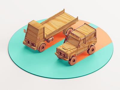Wooden cars cgi design rendering colombia car color cinema 4d illustration c4d 3d