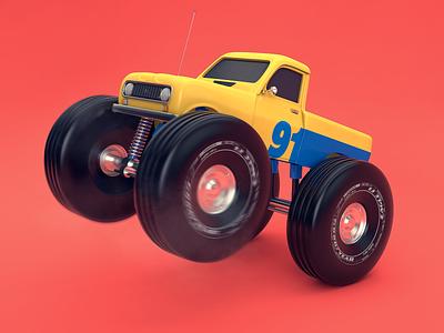 R4 Monster Up cgi 3d art design car color 3dillustration rendering c4d cinema 4d illustration 3d
