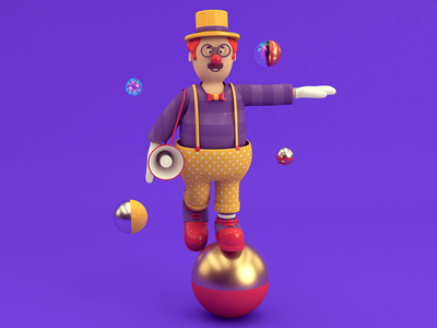 Clown Ball design 3d art clown 3dillustration character color cinema 4d cgi illustration c4d 3d