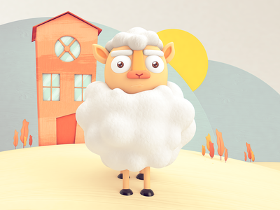 White Sheep cgi design color 3dillustration character sheep cinema 4d rendering illustration c4d 3d
