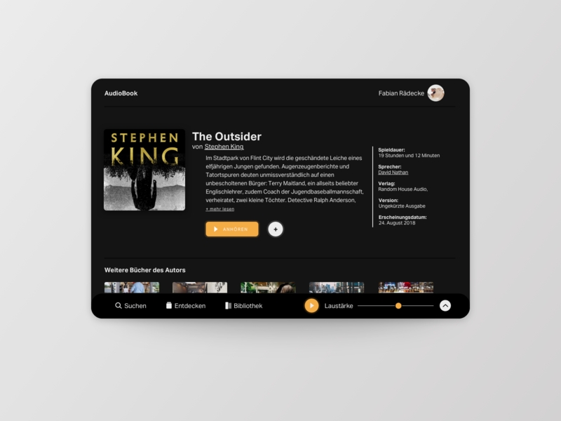Audio Book App product audiobook app ux uichallenge interface card ui design