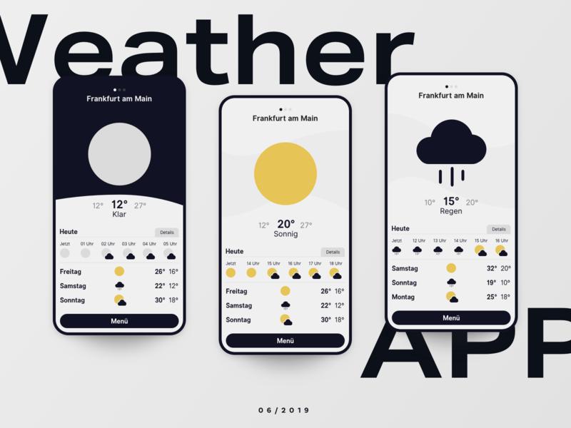 Weather App product uichallenge interface clouds rain sun weather app weather ui app