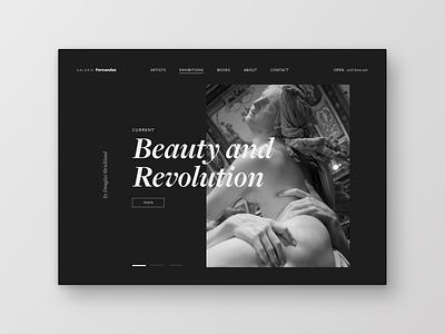 Galerie slider minimal exhibition revolution sculpture beauty museum gallery art design typography frankfurt uichallenge ui website