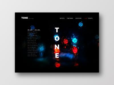 Tone Festival color web ui ux layout landingpage festival music black frankfurt typography interface uichallenge design website