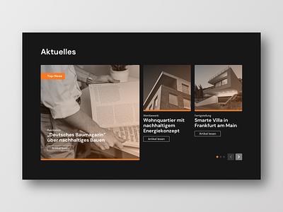 Architecture Website News Section dark landingpage concept frankfurt layout buisness typography ux design ui website architecture