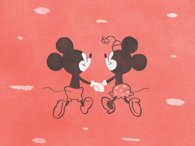Best Friends mickey minnie disney love handmade illustration mouse