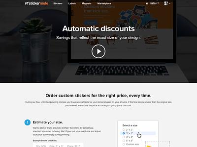 Automatic Discounts landing page discounts sticker mule