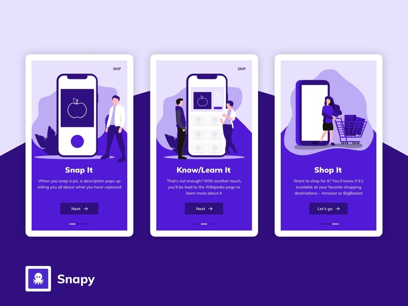 Snapy app onboarding