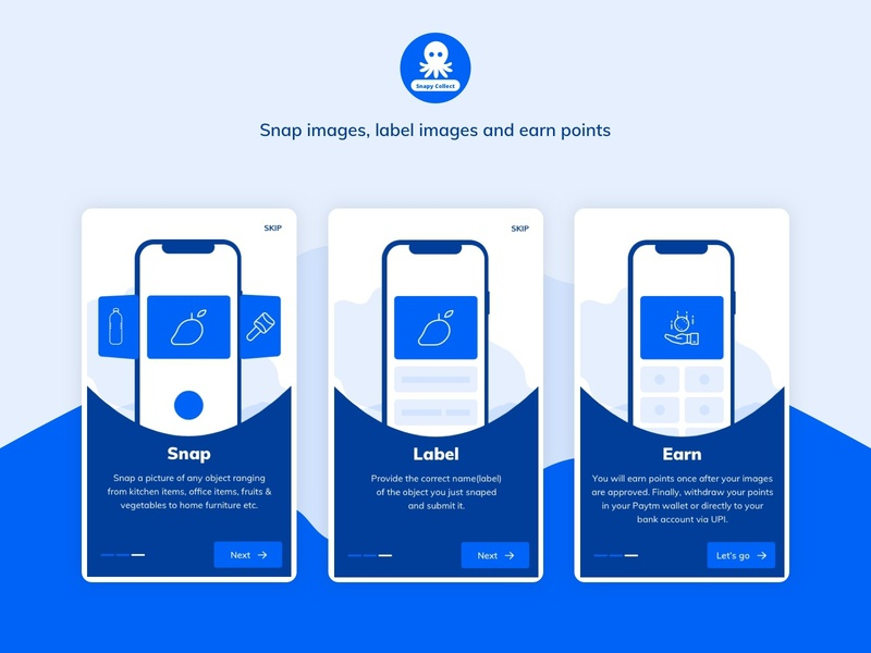 Snapy collect onboarding screen