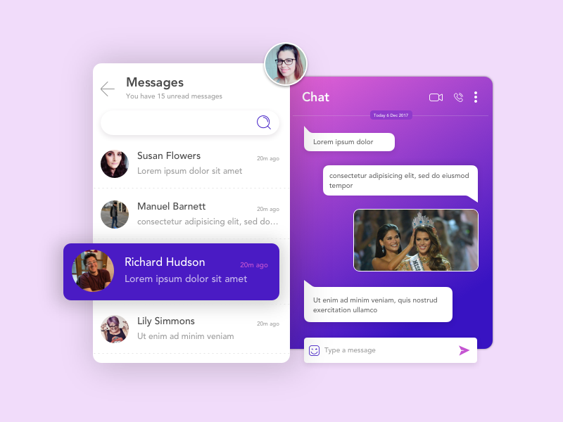#13 Direct Messaging gradient direct message messaging chat sketchapp ui dailyui