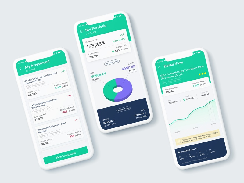 EasyInvest investment tracking mutual fund financial app mobile ui investment finance ui