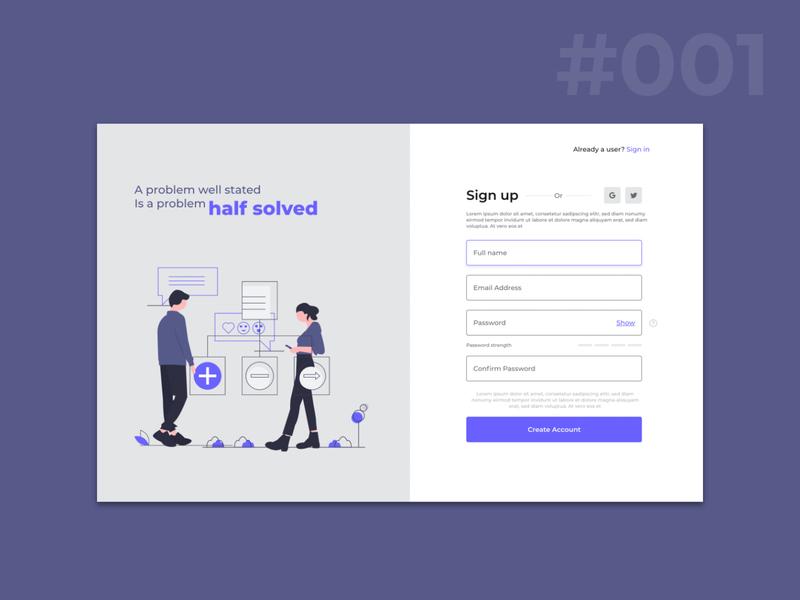 Designing a better signup page adobexd uichallenge uidaily design dailychallenge ui visualdesign uidesign uidesignpatterns uitrends dailyui