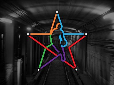NBA NYC AS15 SECONDARY nba dribbler star map subway train secondary logo 2015 all-star