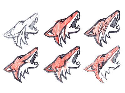 Arizona Coyotes Concept Sketches Primary sketches coyote moon hockey sports logo nhl coyotes