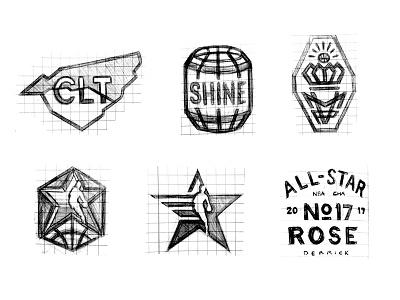 NBA AS17 Charlotte process sketch basketball sports logo charlotte all-star nba