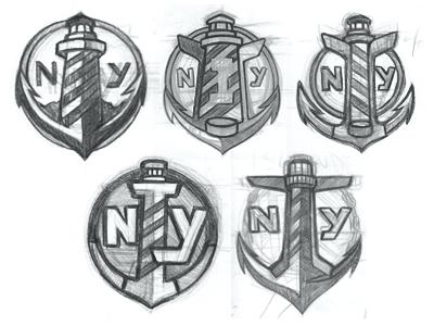 New York Islanders Logo Nhl Identity Sports Sketches Hockey Puck Anchor Lighthouse