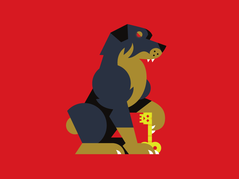 Hell Hound icon vector shapes dog key rottweiler beeteeth