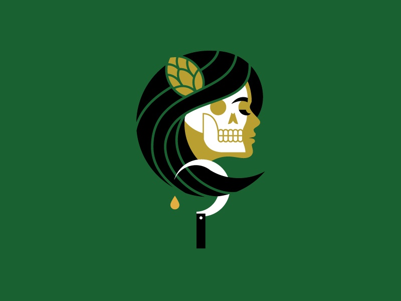 Hops Harvest vector hops sickle lady skull