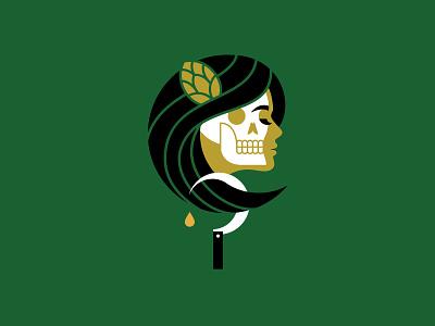 Hops Harvest vector hops sickle lady skull