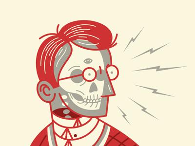 Ghost Machine print letterpress illustration beeteeth ghost