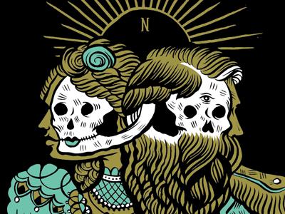 Together Forever skulls ma pa beeteeth illustration dan christofferson