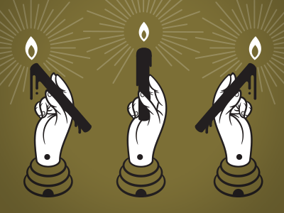 Handstands hands icons candles beehives vector illustration beeteeth utah