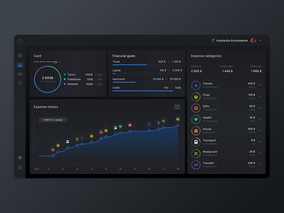 Personal Budget Dashboard dashboad light theme finance web ux ui dark theme design