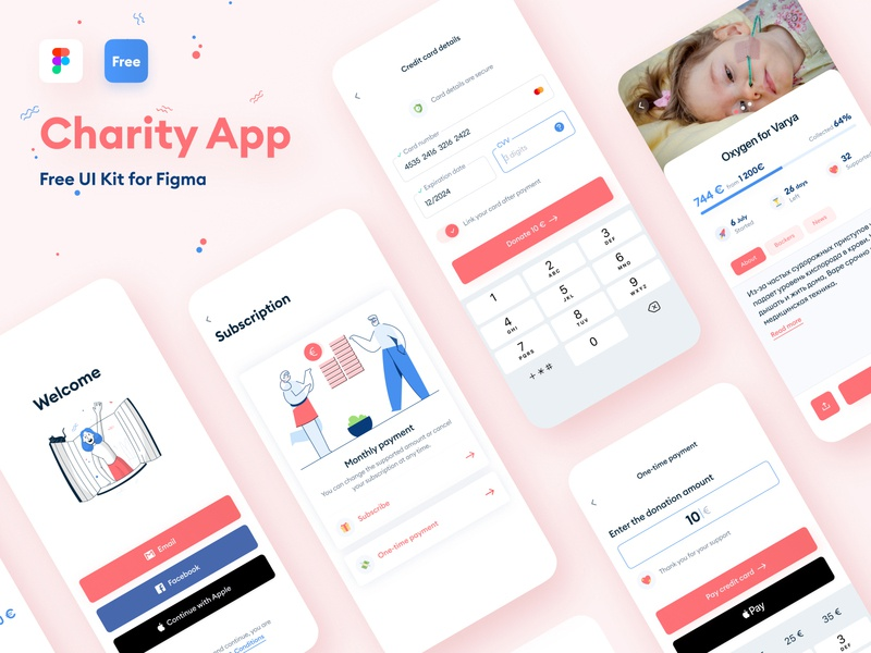Charity App community crowdfunding subscription social amount figma creditcard ui kit free payment ux ios clean ui illustration minimal donate charity mobile app mobile
