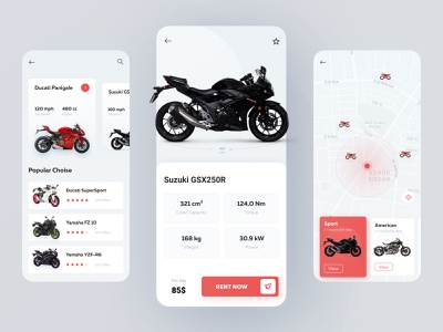 Motorcycle Rent App cards motorcycle ios booking app uxdesign clean ui concept rental app rent navigation mobile app booking
