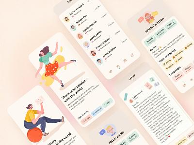 Pen Pal App illustraion onboarding comunication emoji ios clean ui ui mobile profile letter