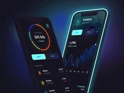 Cryptocurrency wallet cryptocurrencies neon darktheme mockup blur finance chart cryptowallet ux ios mobile app mobi 3d ui
