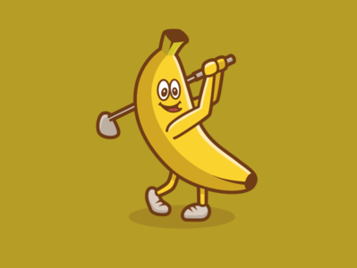 Banana Golfer logo illustration club swing golf driver