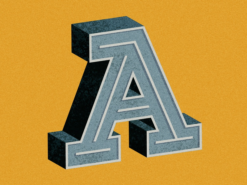 36 Days of Type - A vintage type illustration 3d alphabet distressed typography lettering 36daysoftype07 36daysoftype